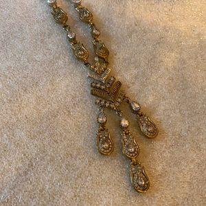 Antique 925 white topaz necklace